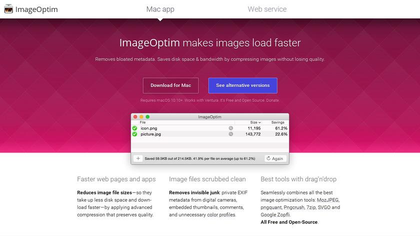 ImageOptim Landing Page
