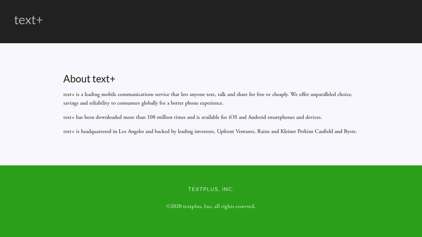 textPlus Landing Page
