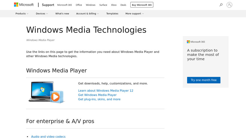 Windows Media Player Landing Page