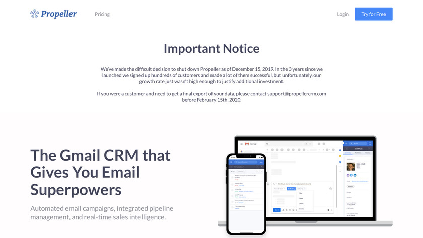 Propeller CRM Landing Page
