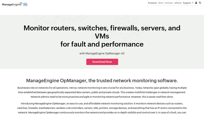 ManageEngine OpManager Landing Page