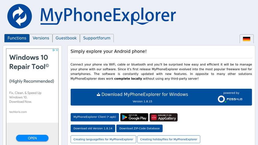 MyPhoneExplorer Landing Page