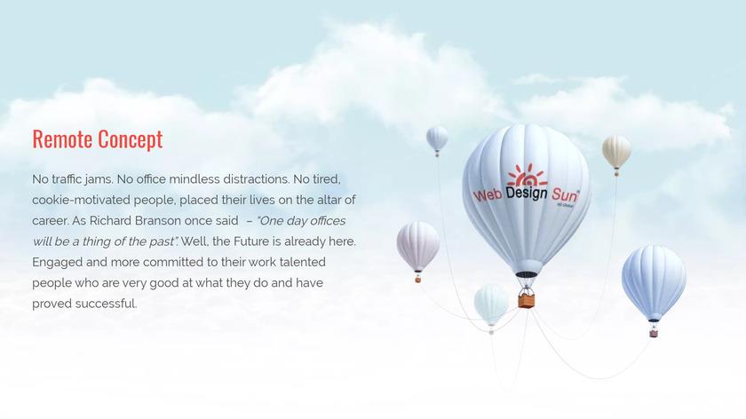 Web Design Sun Landing Page
