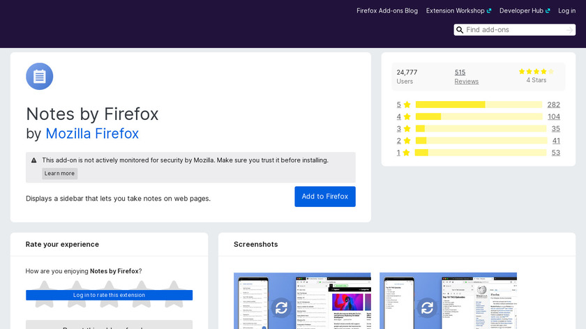 Notes by Firefox Landing Page
