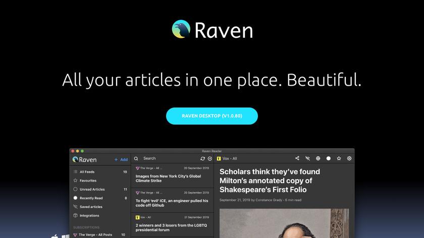 Raven Reader Landing Page