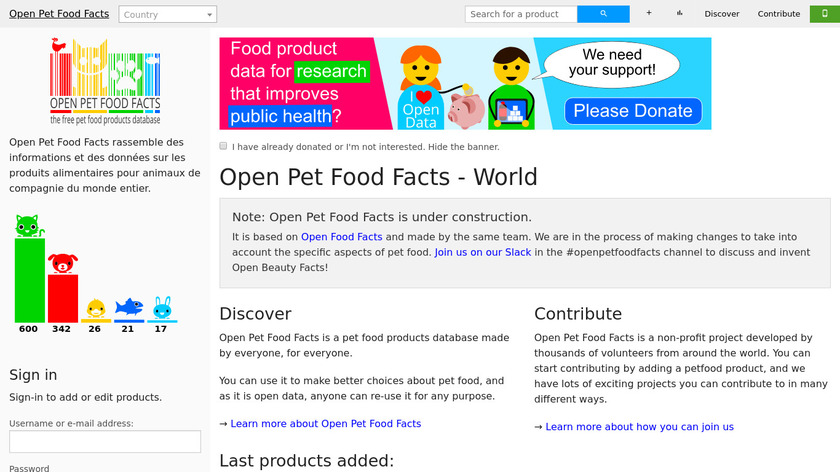 Open Pet Food Facts Landing Page
