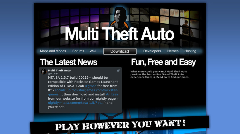 Multi Theft Auto Landing Page