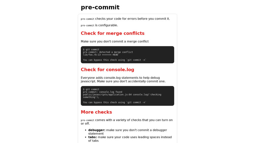 pre-commit Landing Page