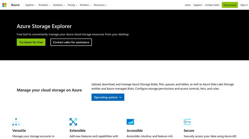 Azure Storage Explorer Landing Page