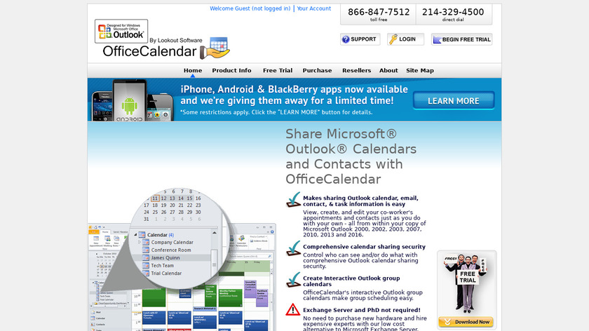 OfficeCalendar Landing Page