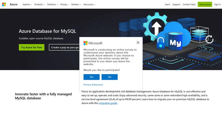 Azure Database for MySQL Landing Page