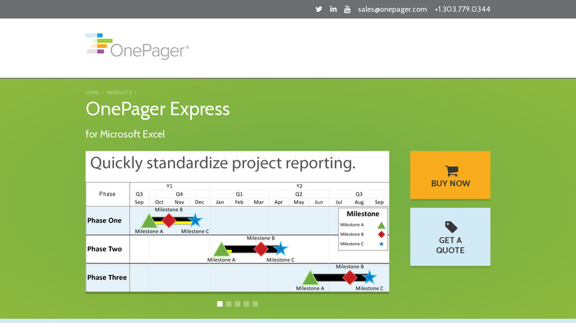 OnePager Express for Excel Landing Page