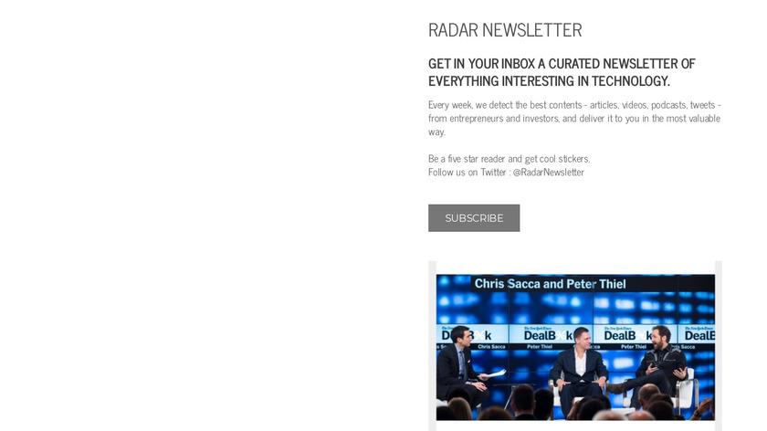 Radar Newsletter Landing Page