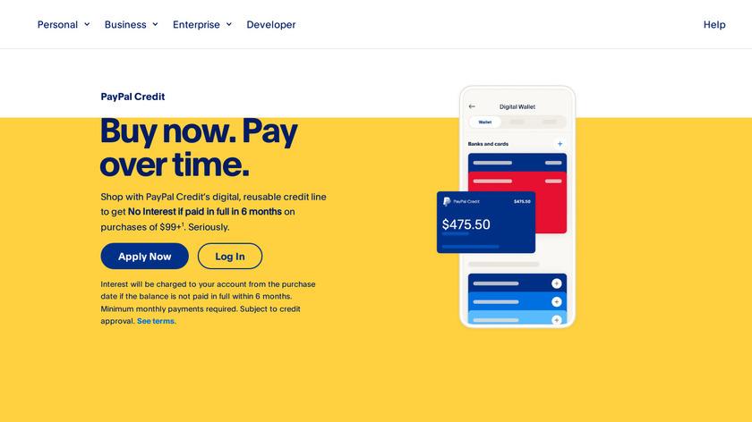 PayPal Credit Landing Page