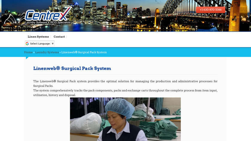 Linenweb Surgical Pack System Landing Page