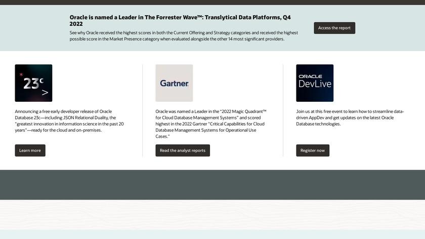 Oracle DBaaS Landing Page