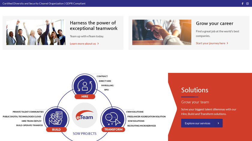 eTeam Landing Page