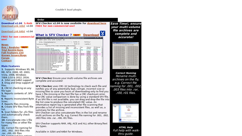 SFV Checker Landing Page