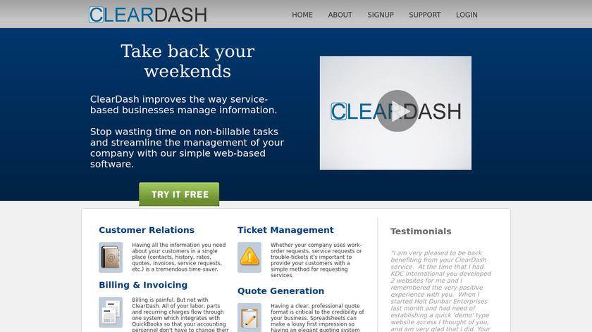 ClearDash Landing Page