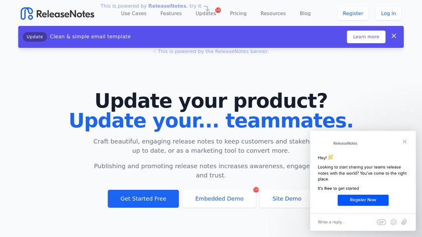 ReleaseNotes.io Landing Page