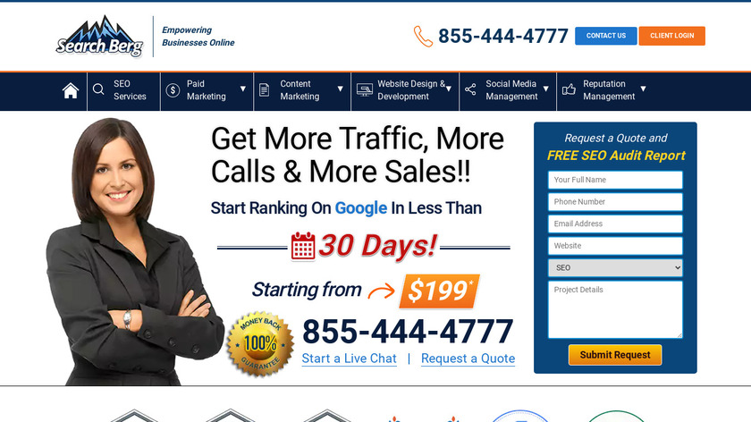 SearchBerg Landing Page