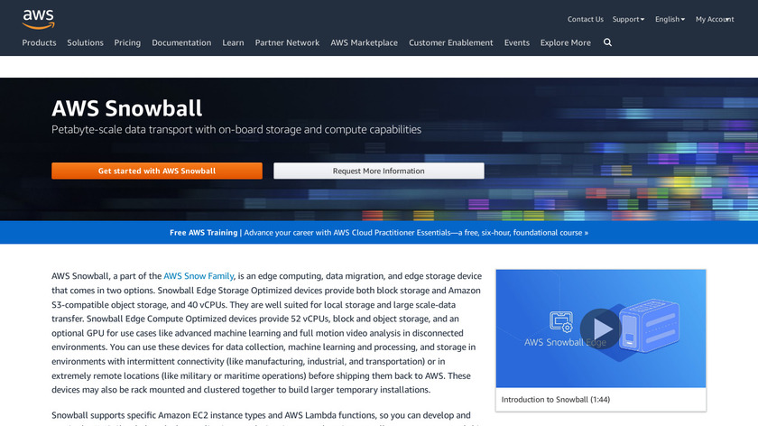 AWS Snowball Landing Page