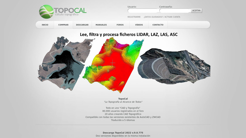 Topocal Landing Page