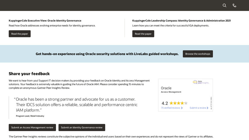 Oracle Identity Manager Landing Page