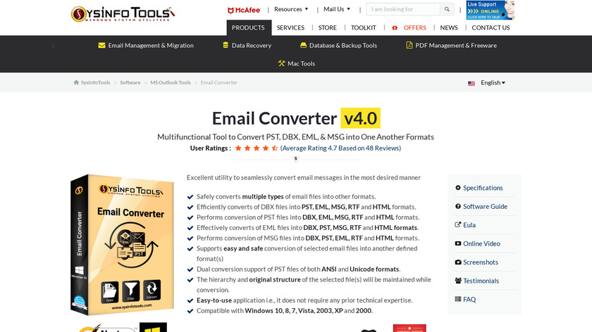 SysInfo Email Converter Landing Page