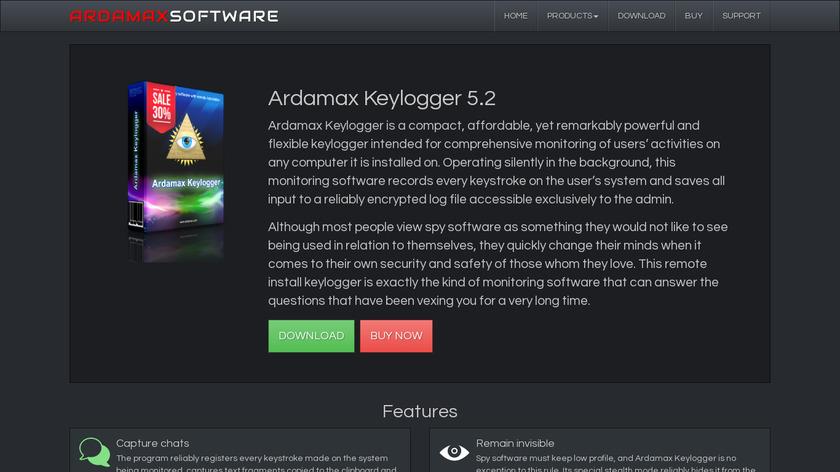Ardamax keylogger Landing Page