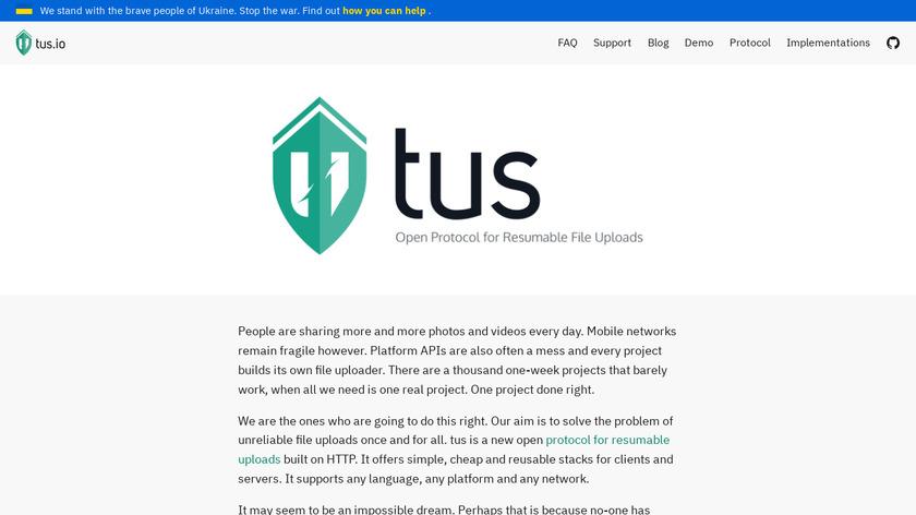 tus.io Landing Page