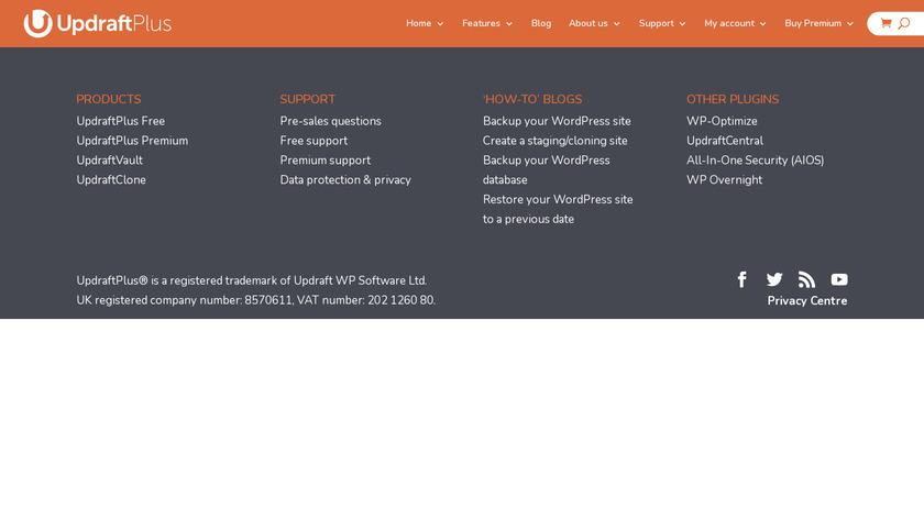 UpdraftPlus Landing Page