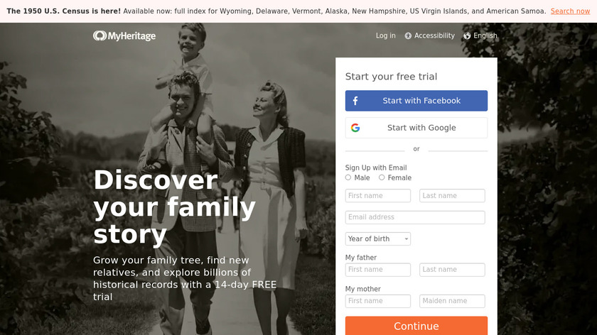 MyHeritage Landing Page
