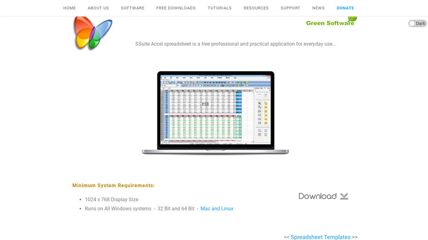 SSuite Accel Spreadsheet Landing Page
