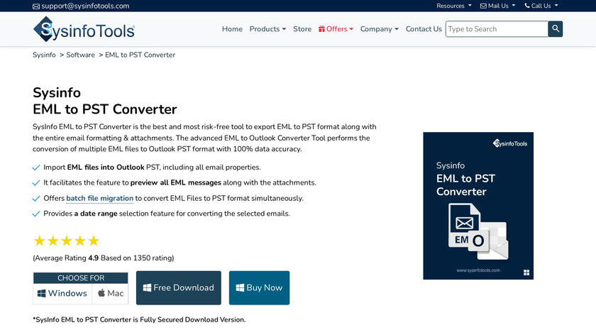 SysInfo EML to PST Converter Landing Page