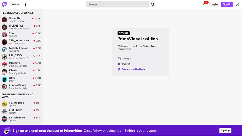 Twitch Prime Landing Page