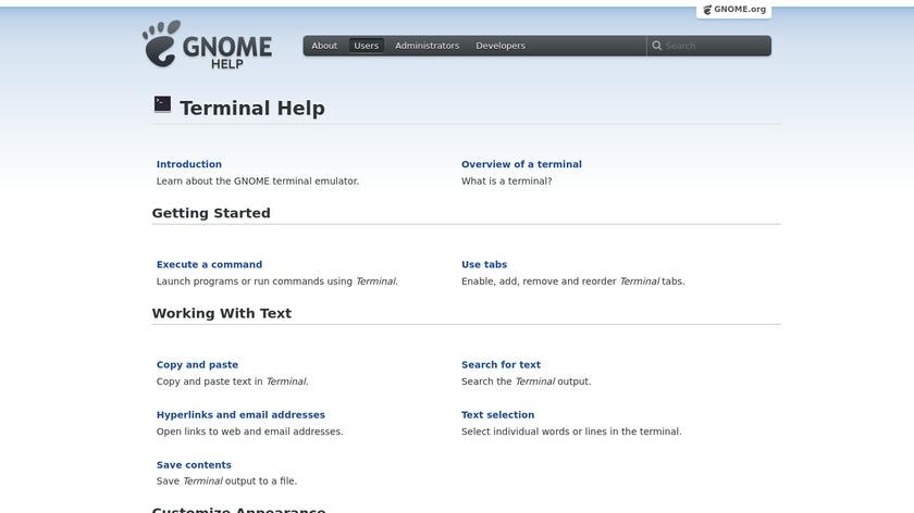 GNOME Terminal Landing Page