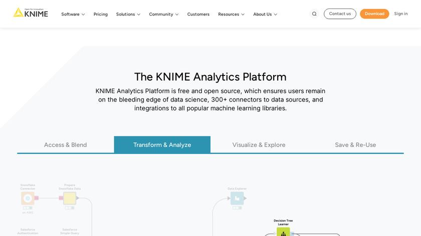 KNIME Analytics Platform Landing Page