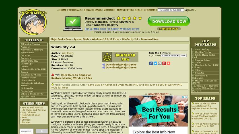 WinPurify Landing Page