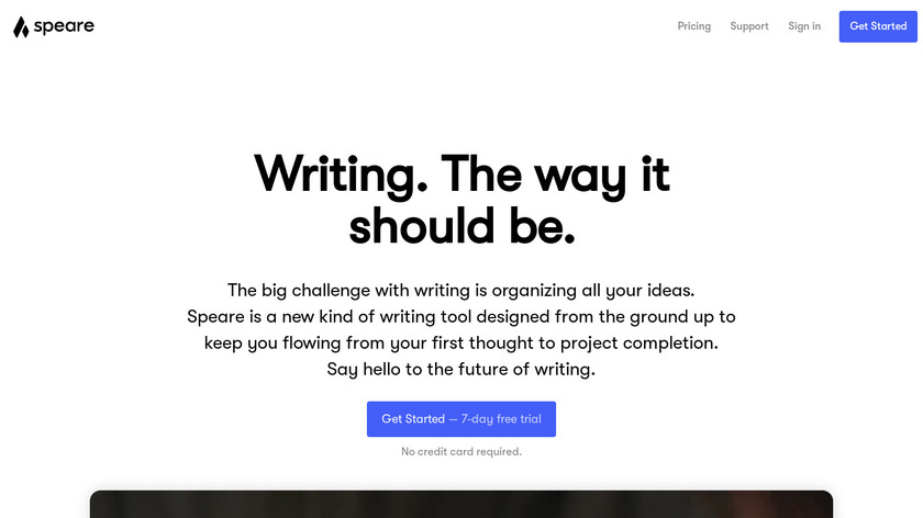 Speare Landing Page