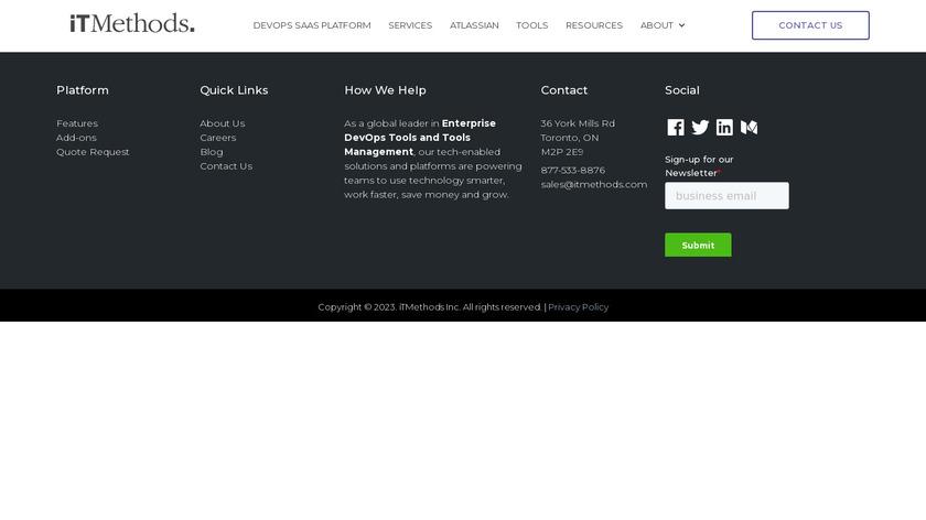 iTMethods Inc. Landing Page