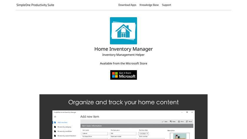 SimpleOne Home Inventory Manager Landing Page