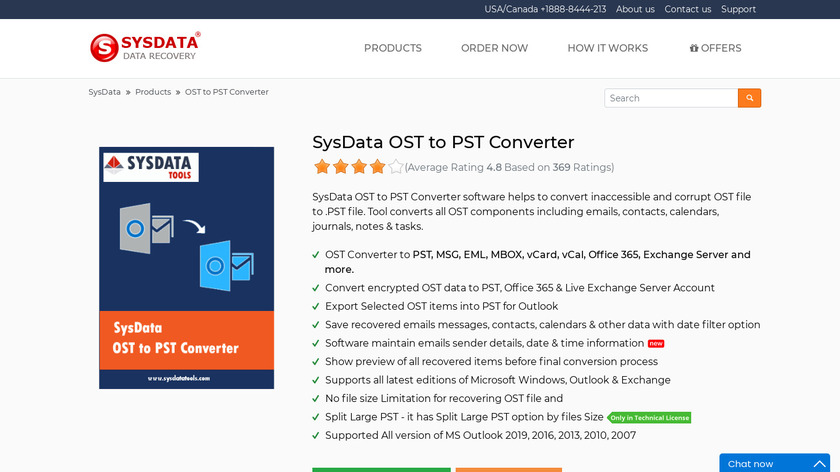 SysData OST to PST Converter Landing Page
