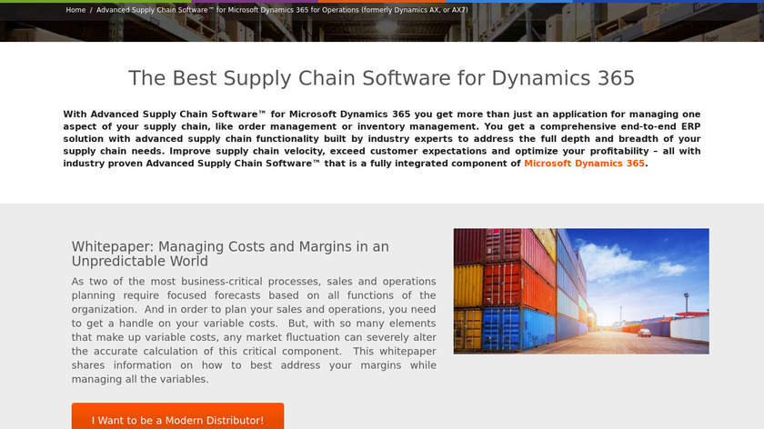 Advanced Supply Chain Software Landing Page