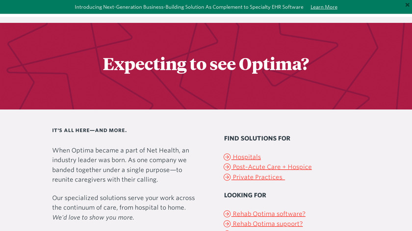 Optima Therapy for SNFs Landing Page