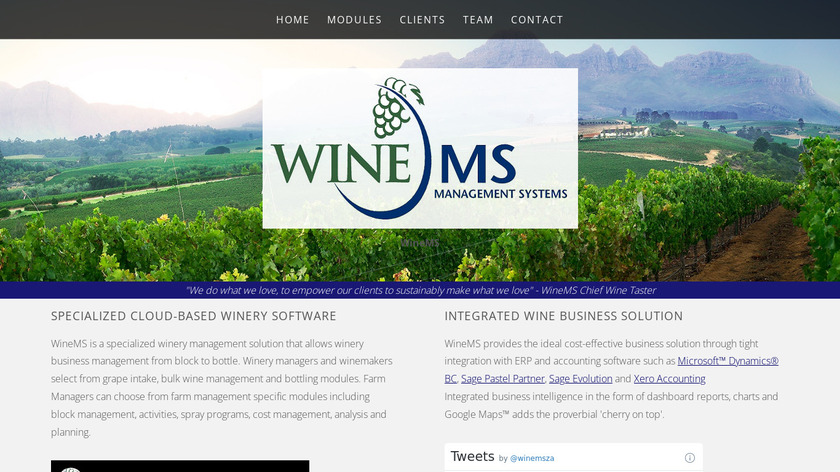 WineMS Landing Page