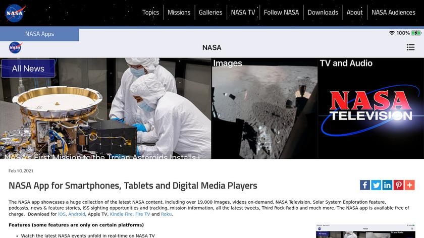 NASA App Landing Page