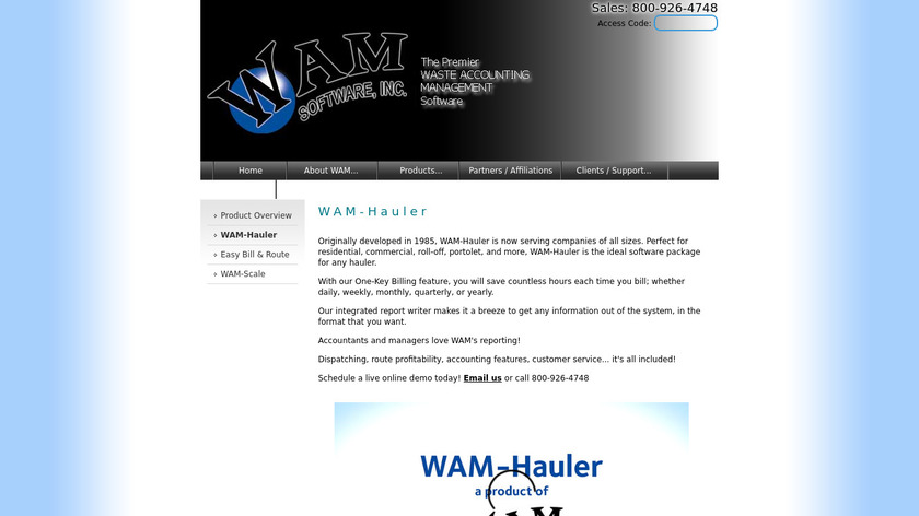 wamsoftware.com WAM-Hauler Landing Page