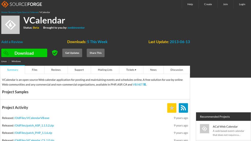 VCalendar Landing Page