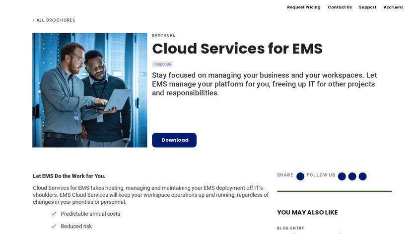 Cloud EMS Landing Page